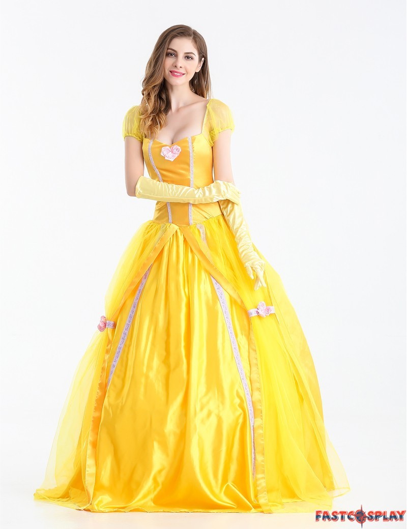 Beauty and The Beast Adult Princess Belle Costume Yellow ...