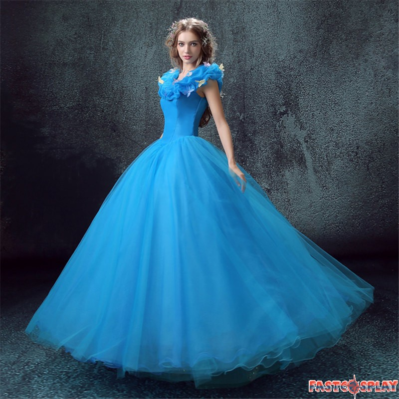 Cinderella Live Action Blue Wedding Dress Cosplay Deluxe Costume
