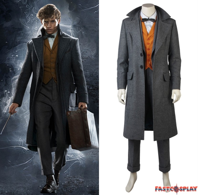 Newt Scamander Cosplay Costume Fantastic Over Coat Suit Blazer Pants Vest Shirt