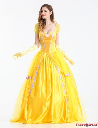 Disney Beauty and The Beast Adult Princess Belle Costume Yellow Long Dress