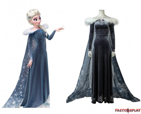 Olaf's Frozen Adventure Elsa Cosplay Costume Princess Fancy Dress
