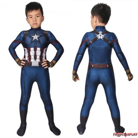 Avengers: Endgame Captain America Kids 3D Zentai Jumpsuit