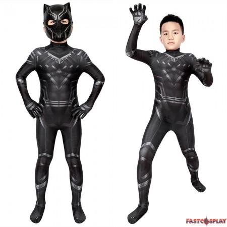 Civil War T'Challa Black Panther Kids 3D Jumpsuit