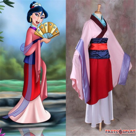 Disney Princess Hua Mulan Dress Cosplay Halloween Party Costume