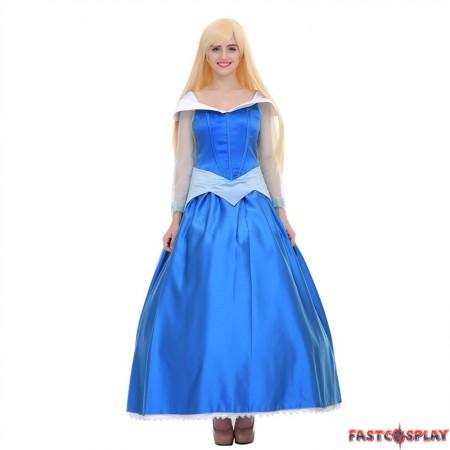 Disney Sleeping Beauty Princess Aurora Blue Dress Cosplay Costume