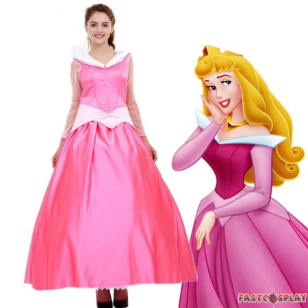 Disney Sleeping Beauty Princess Aurora Pink Dress Cosplay Costume