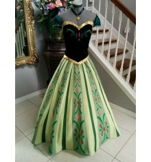 Disney Frozen Anna Coronation Dress Cosplay Costume