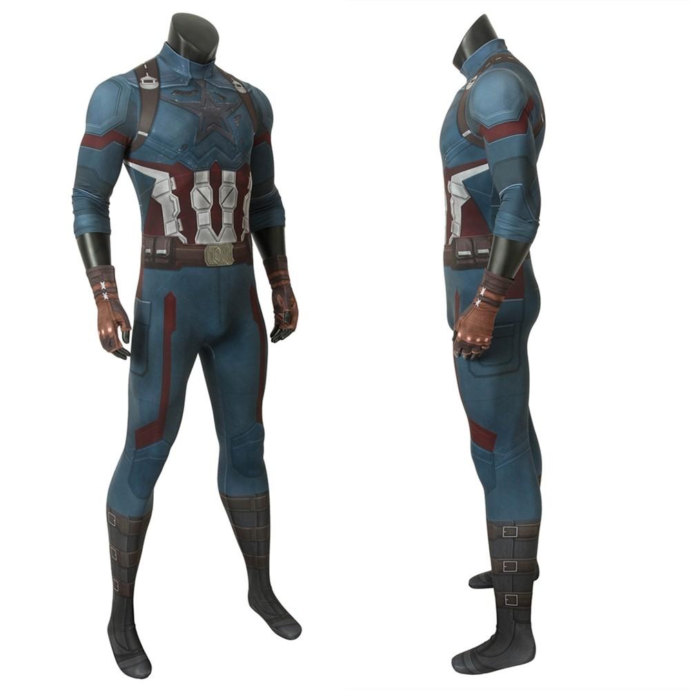 Avengers 3 Infinity War Captain America 3D Zentai Jumpsuit