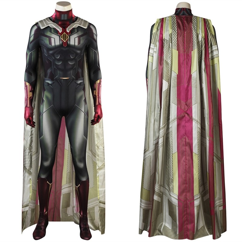 Avengers Infinity War Vision Cosplay Costume 3D Shade Printed Jumpsuit