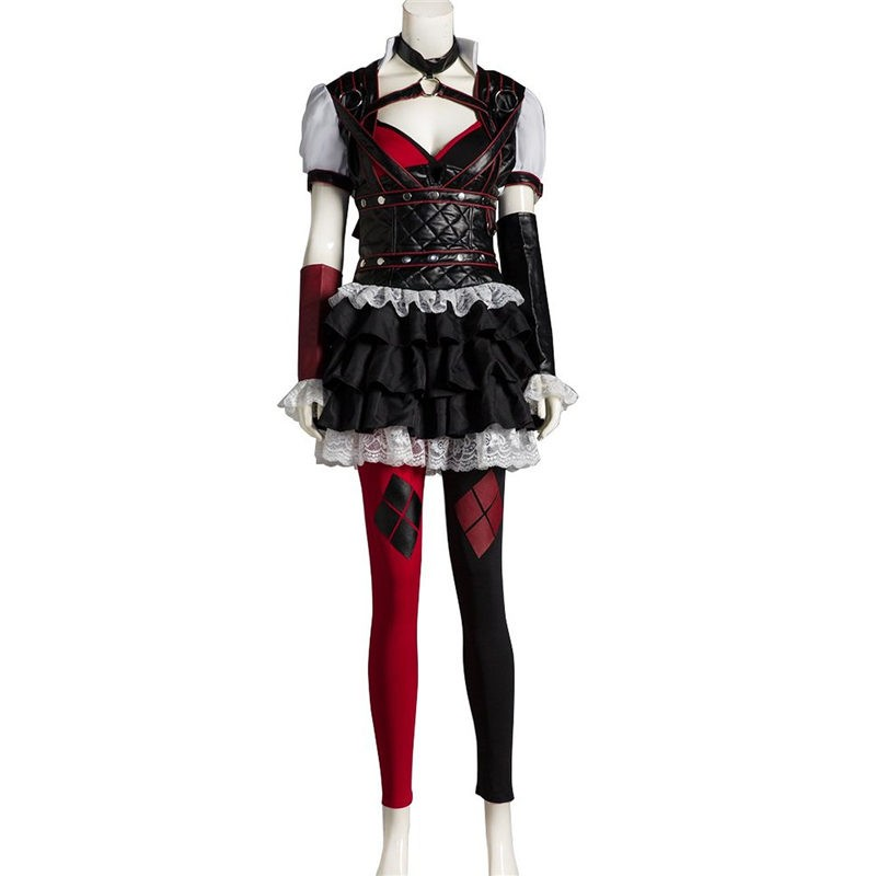 Arkham Asylum Harley Quinn Cosplay Costume Outfit