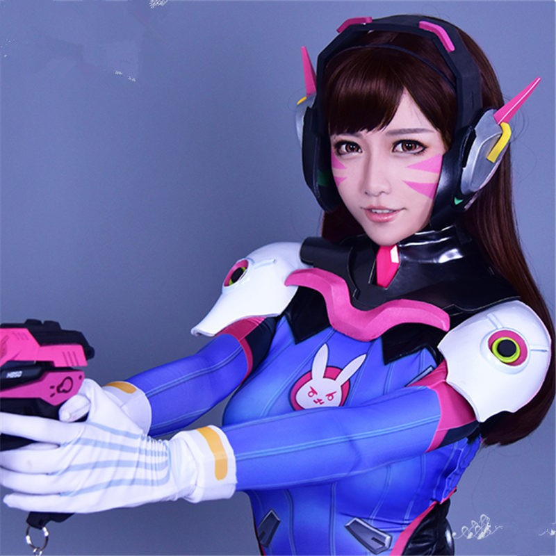 Overwatch D.Va Wigs Hana Song Brown Cosplay Wigs