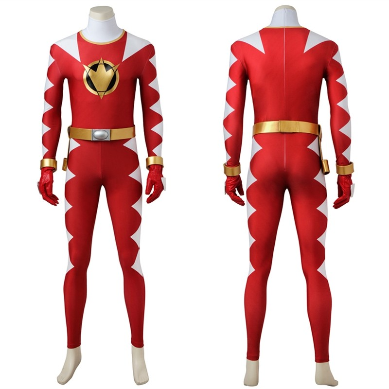 Power Rangers DinoThunder Cosplay Costumes Red Jumpsuit Costume