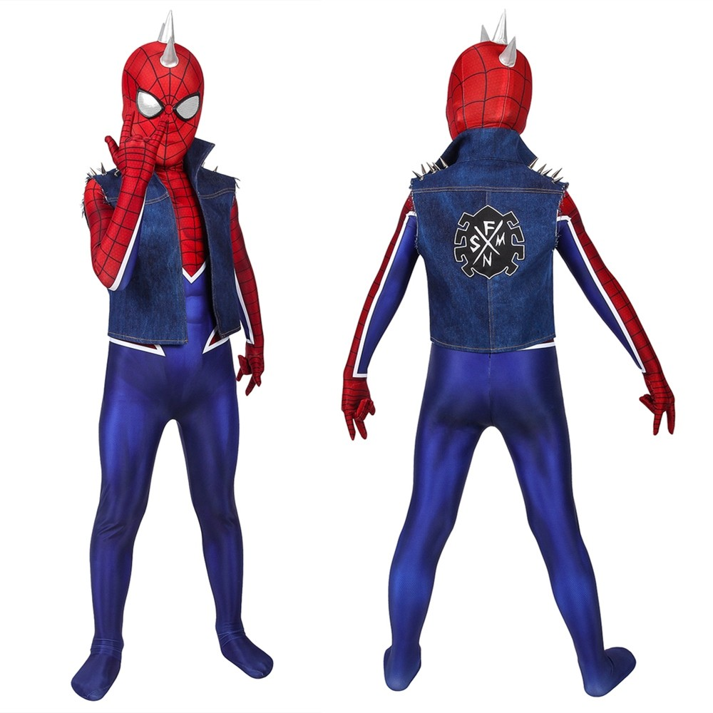 Spider-Man PS4 Spider-Punk Kids 3D Zentai Jumpsuit