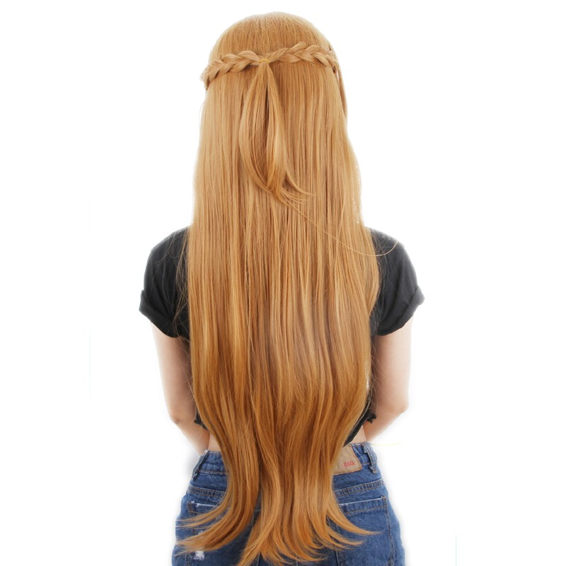 Sword Art Online Asuna Yuuki Braided Long Gold Brown Cosplay Wigs