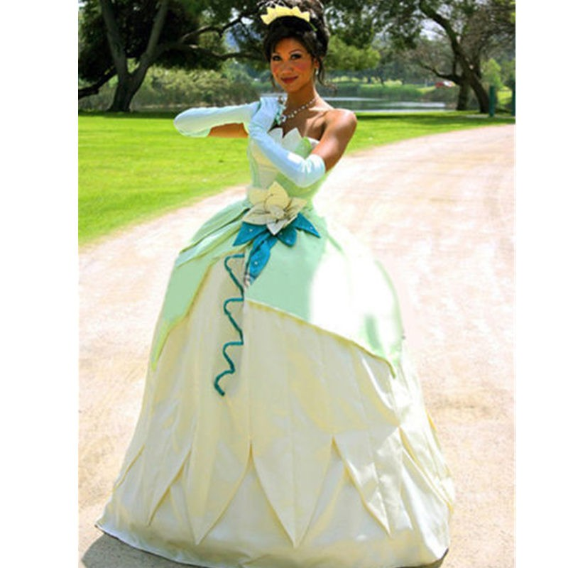 Disney The Princess and the Frog Tiana Princess Dress Cosplay Costume
