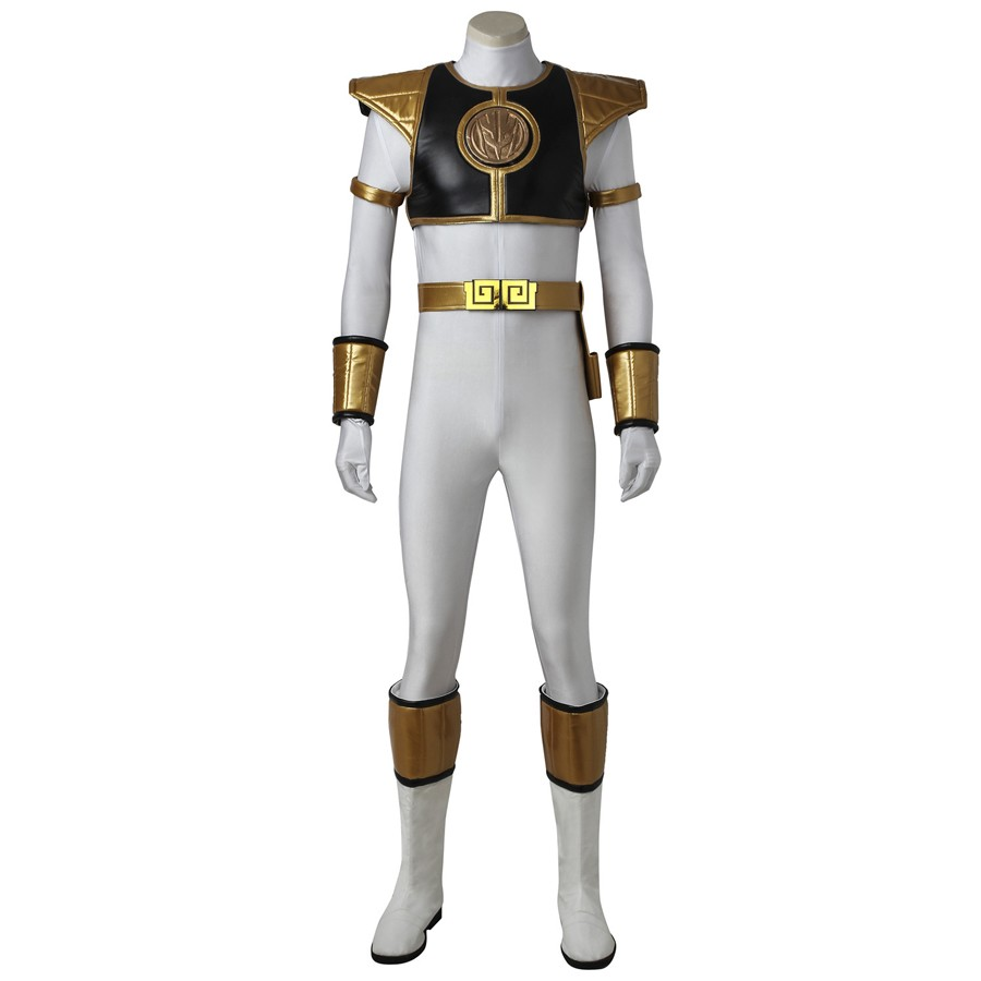 Tyranno Ranger White Ranger Tommy Jumpsuit Cosplay Costume