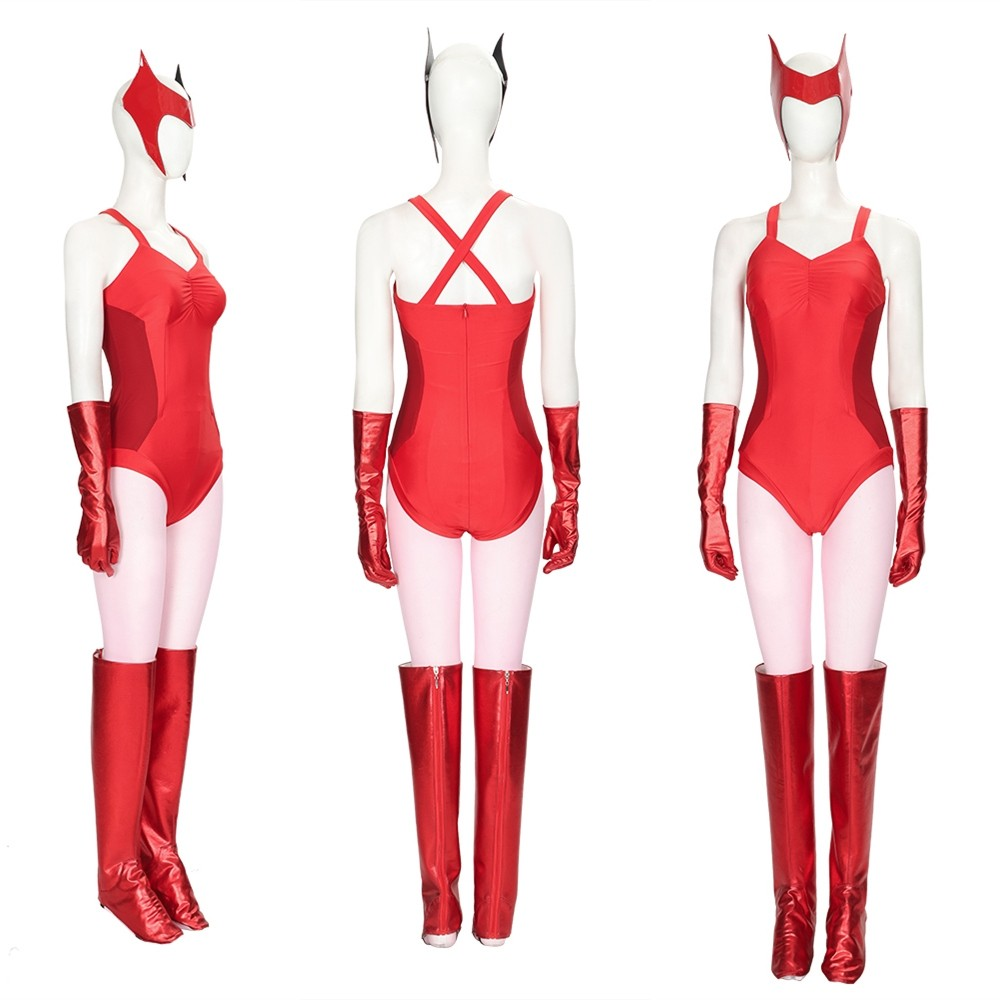 WandaVision Scarlet Witch Wanda Cosplay Costume Red Suit