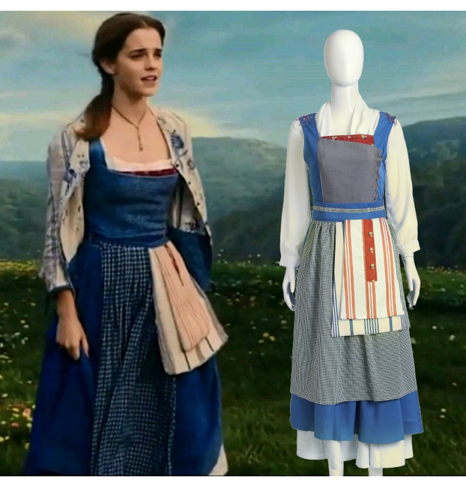 2017 Disney Beauty and the Beast Princess Belle Blue Dress Belle Maid Costume