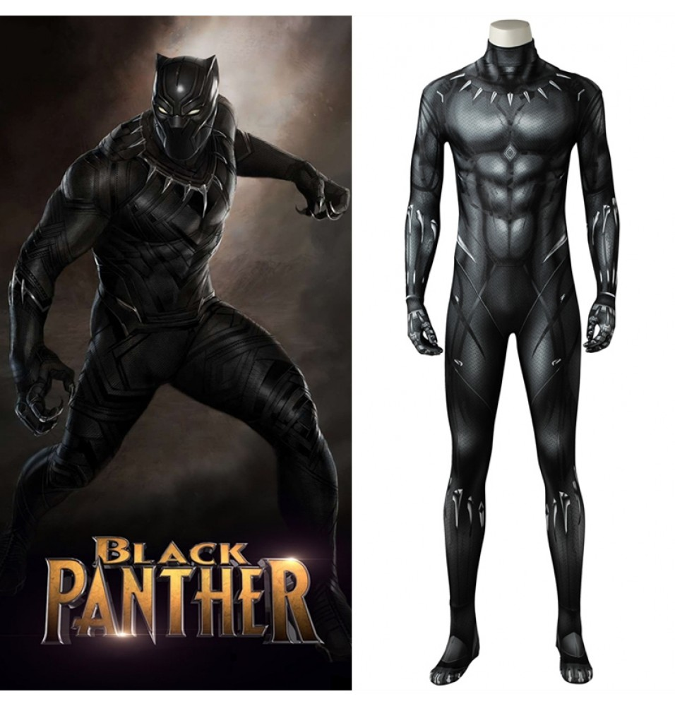 2018 Black Panther Cosplay Costume 3D Printed Black Panther Jumpsuit