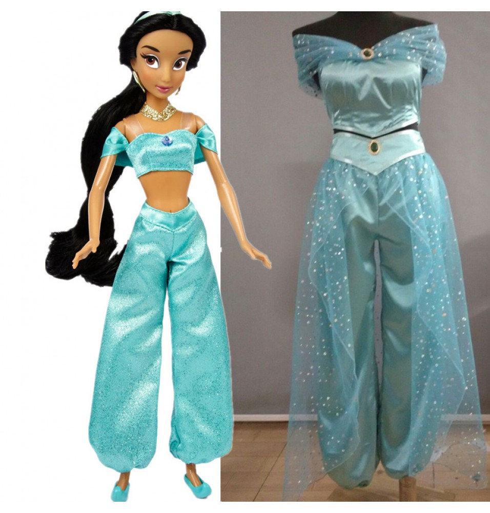 Disney Aladdin Princess Jasmine Deluxe Dress Cosplay Costume