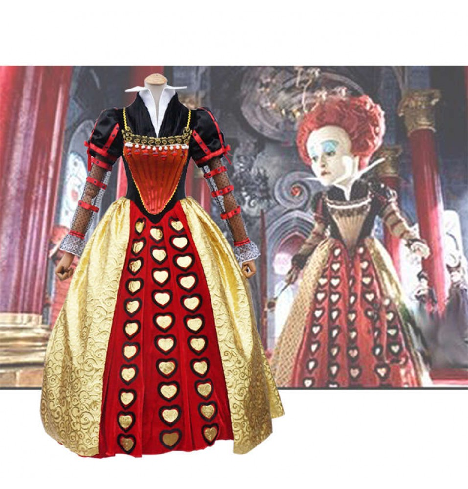 Disney Alice In Wonderland Red Queen Dress Cosplay Costume