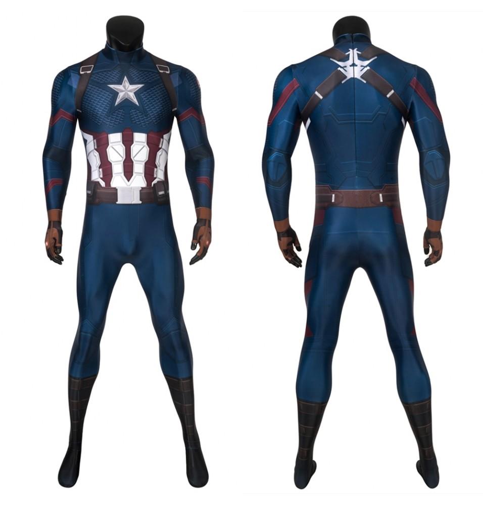 Avengers: Endgame Steven Rogers Captain America 3D Zentai Jumpsuit