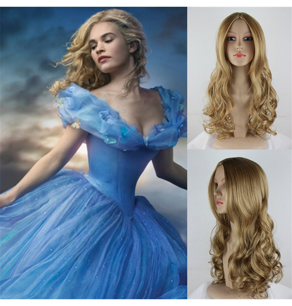 Disney Cinderella Princess Long Curly Cosplay Wigs