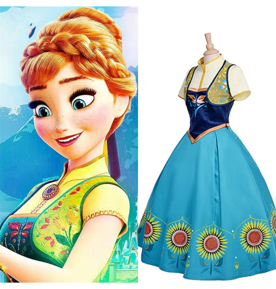Disney Frozen Fever Anna Cosplay Dress Costume - Deluxe Edition