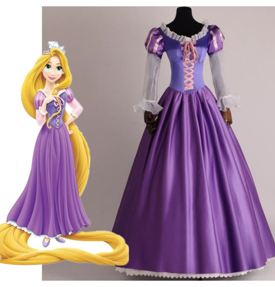 Disney Tangled Princess Rapunzel Adult Cosplay Costume Deluxe Dress