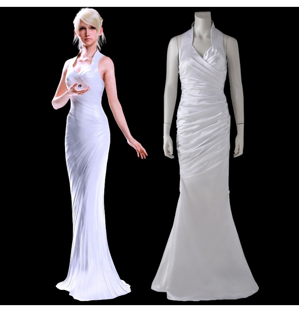 Final Fantasy XV Lunafreya Nox Fleuret White Dress Coplay Costume