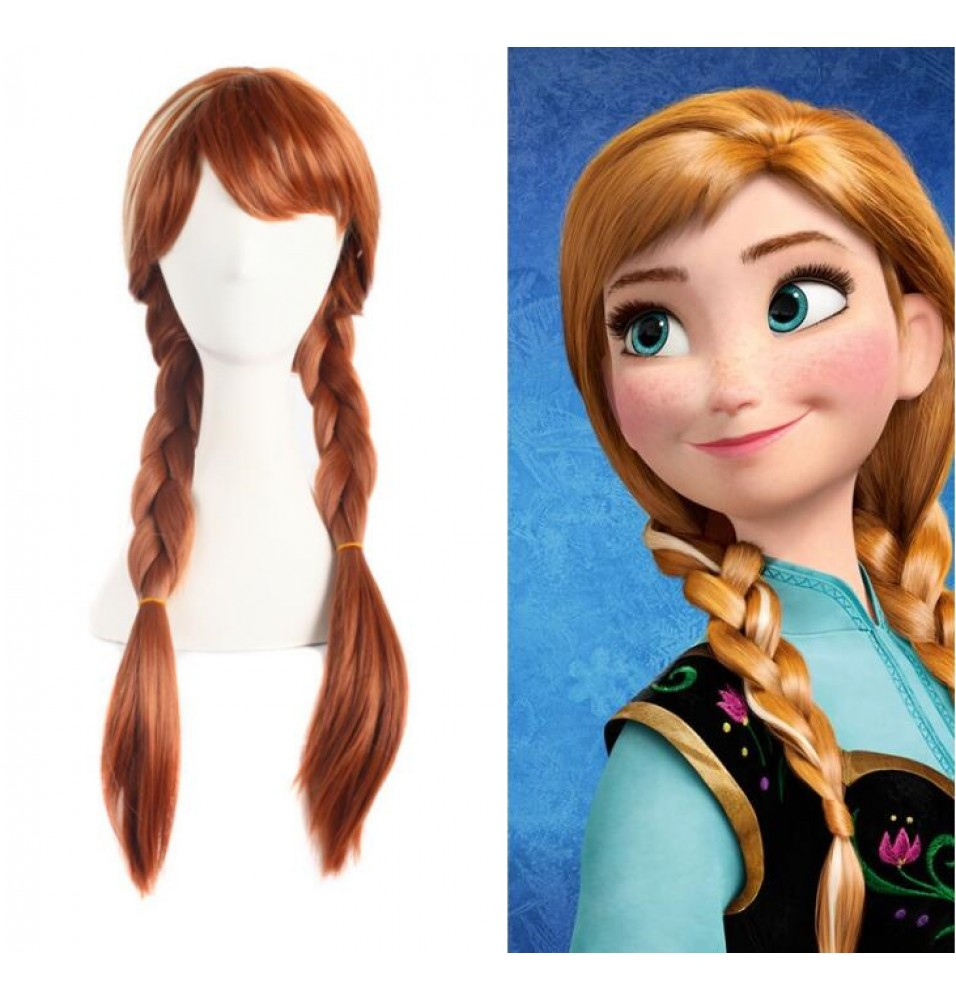 Disney Frozen Princess Anna Wigs Cosplay Braids Wigs