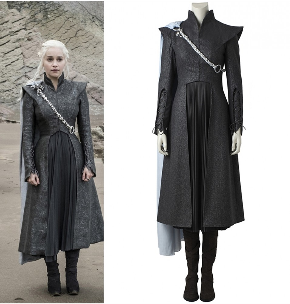 Game of Thrones 7 Daenerys Targaryen Cosplay Costume with Cloak Boots