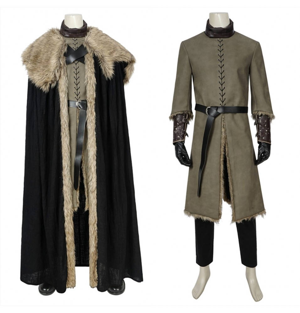 Game of Thrones 8 Jon Snow Cosplay Costume Deluxe Version
