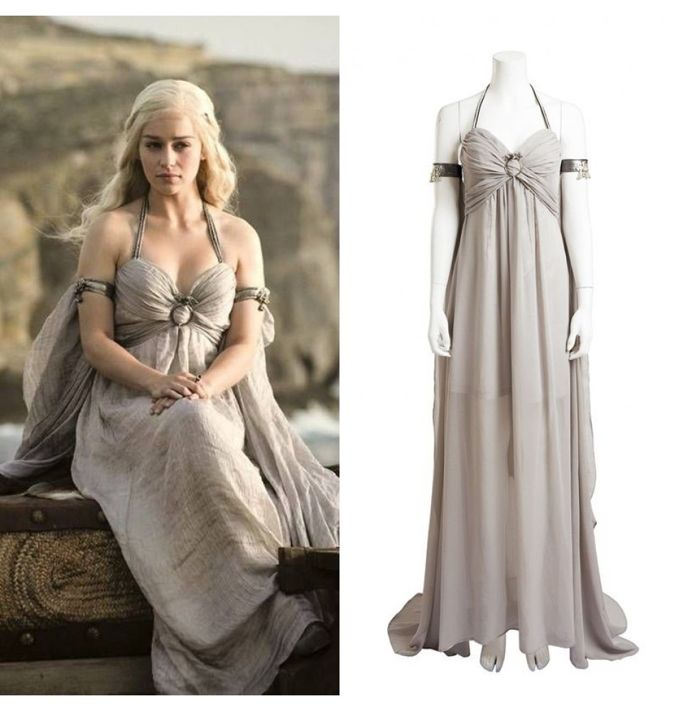 Game of Thrones Daenerys Targaryen Grey Dress Cosplay Deluxe Costume