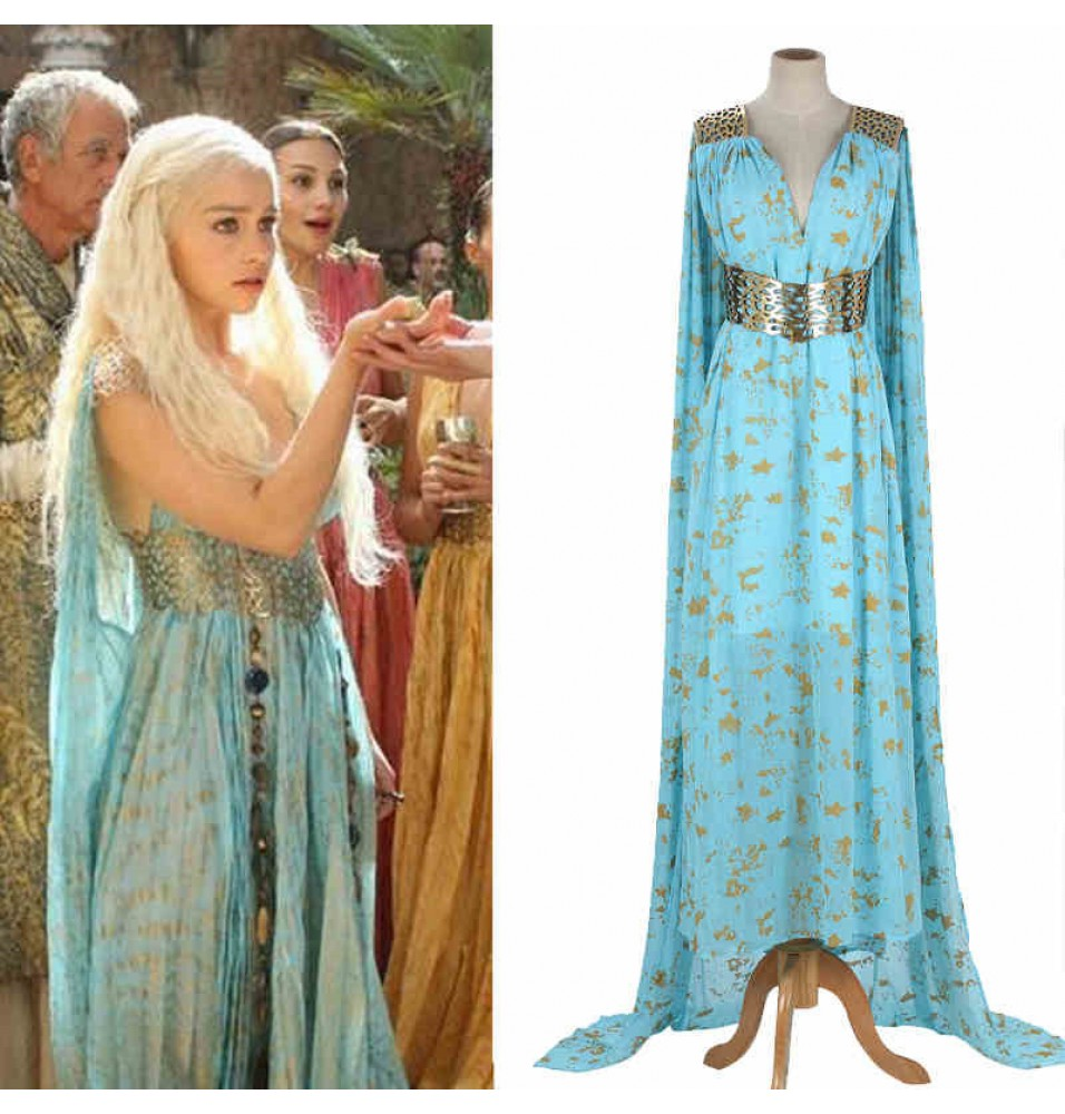 Game Of Thrones Season 2 Daenerys Targaryen Blue Dress Cosplay Costume
