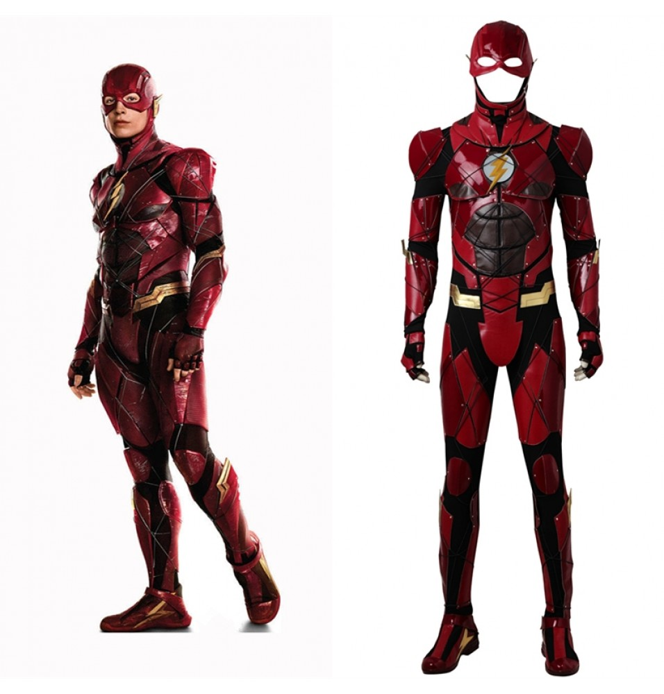 Justice League The Flash Cosplay Costume Barry Allen Deluxe Outfit