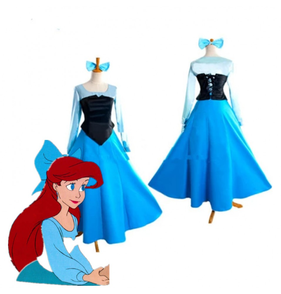 Disney Little Mermaid Ariel Princess Blue Dress Costume Cosplay