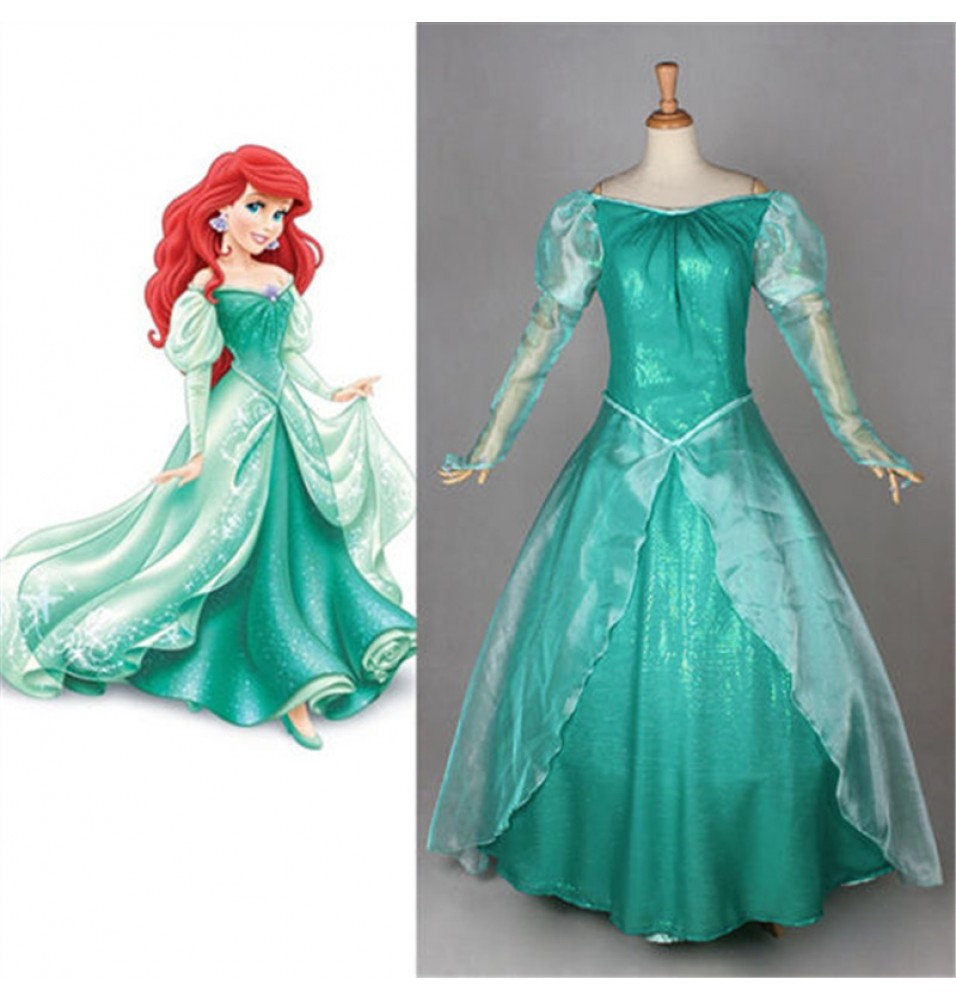Disney Little Mermaid Ariel Princess Dress Cosplay Deluxe Costume