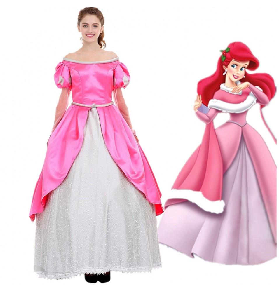 Disney Little Mermaid Ariel Princess Pink Dress Costume Cosplay