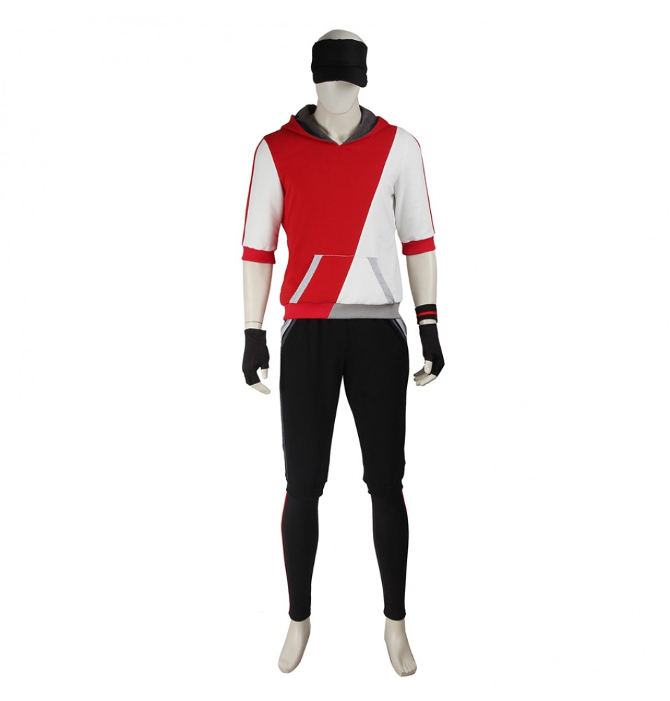 Pokemon Go Male Red Trainer Team Cosplay Costume