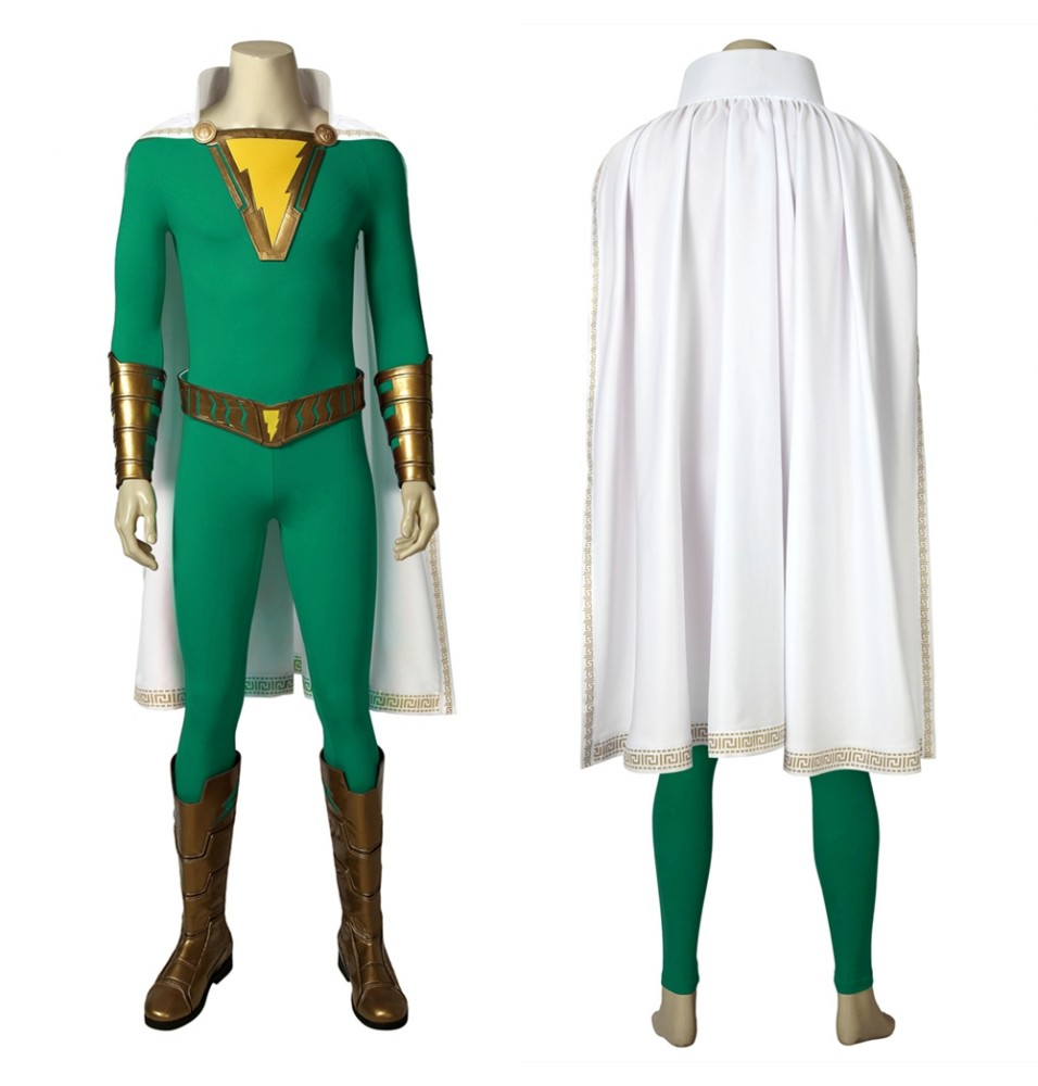 Shazam Freddy Freeman Cosplay Costume Green