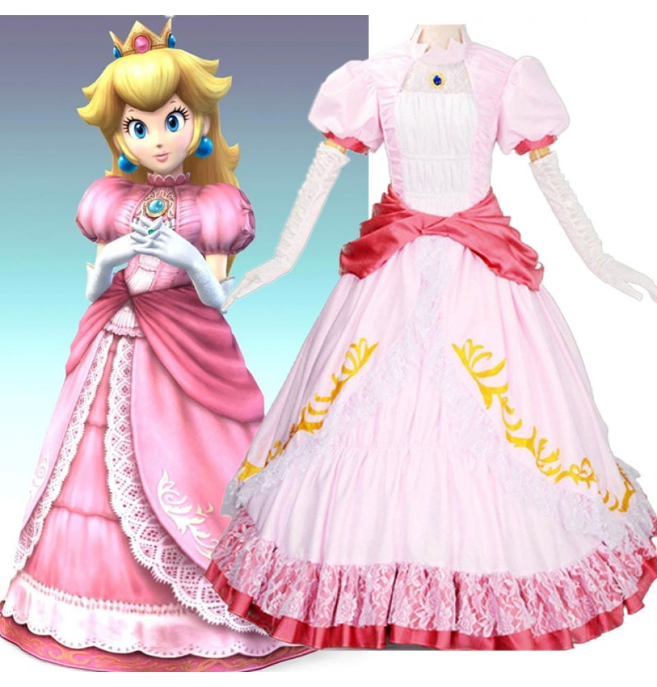 Super Mario Princess Peach Pink Dress Cosplay Costume