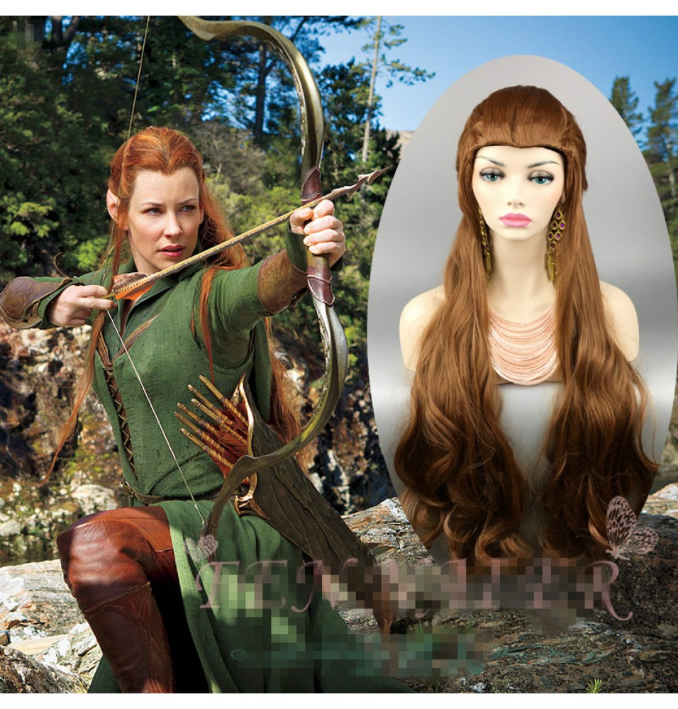 The Hobbit Lord of the Rings Elf Tauriel Brown Wavy Cosplay Wigs
