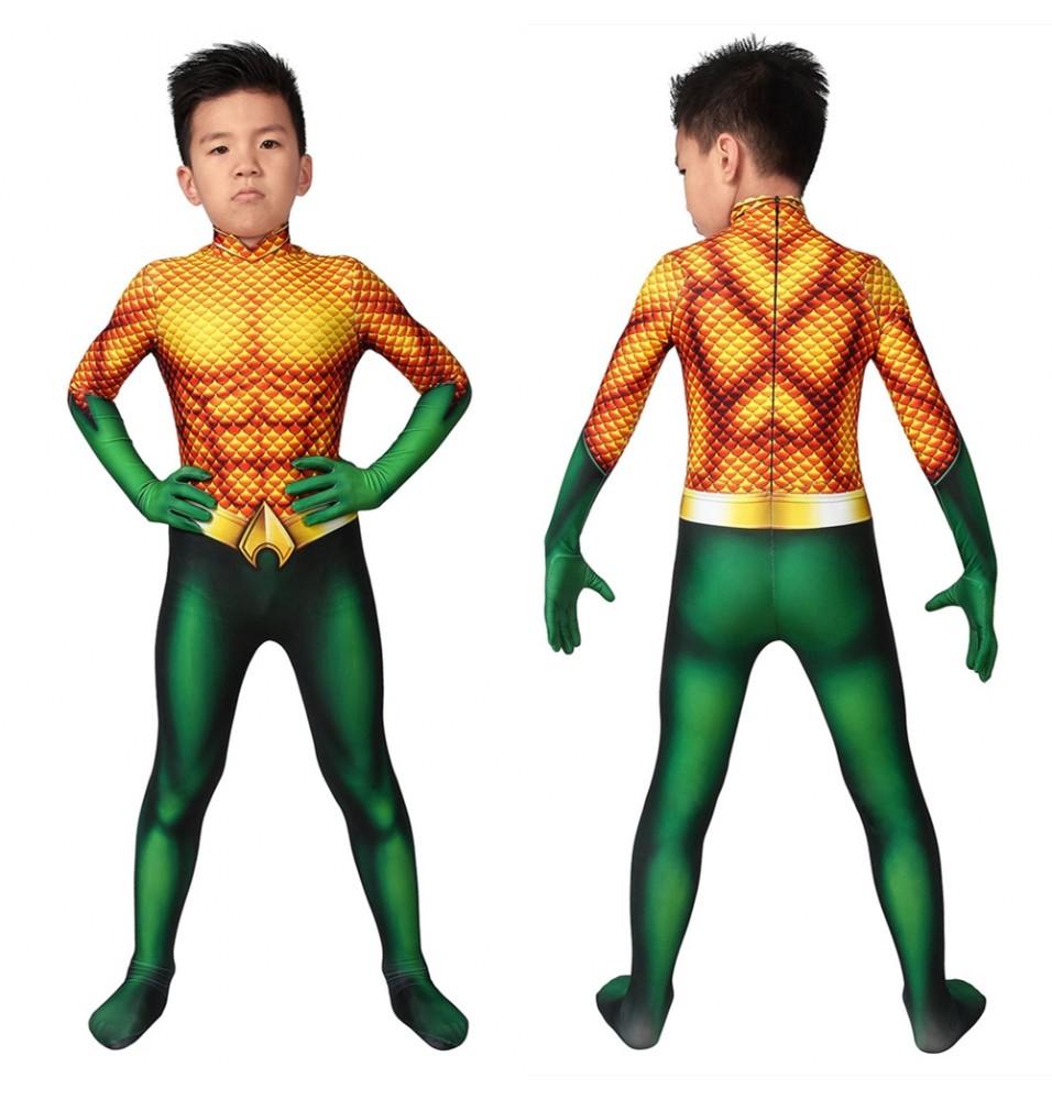 Aquaman Arthur Curry Kids 3D Cosplay Jumpsuit