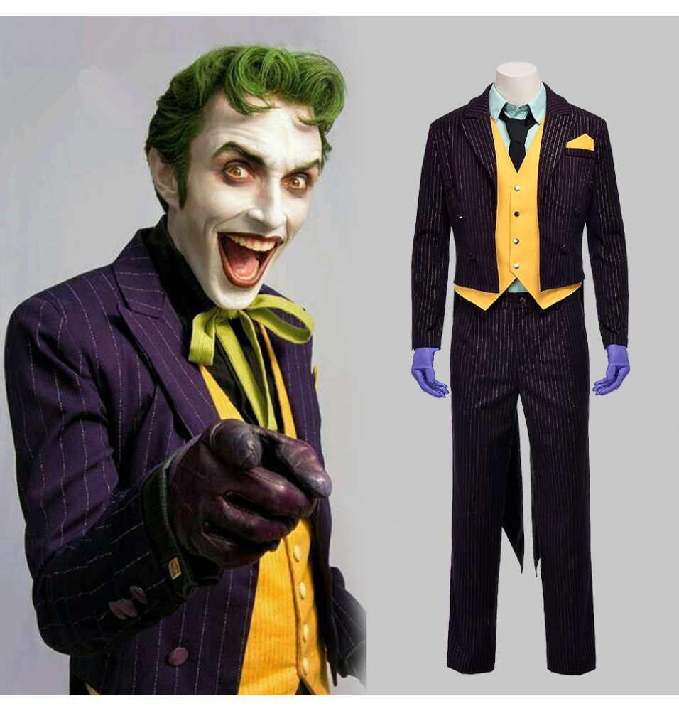 Arkham Asylum Joker Costume Cosplay Outfit