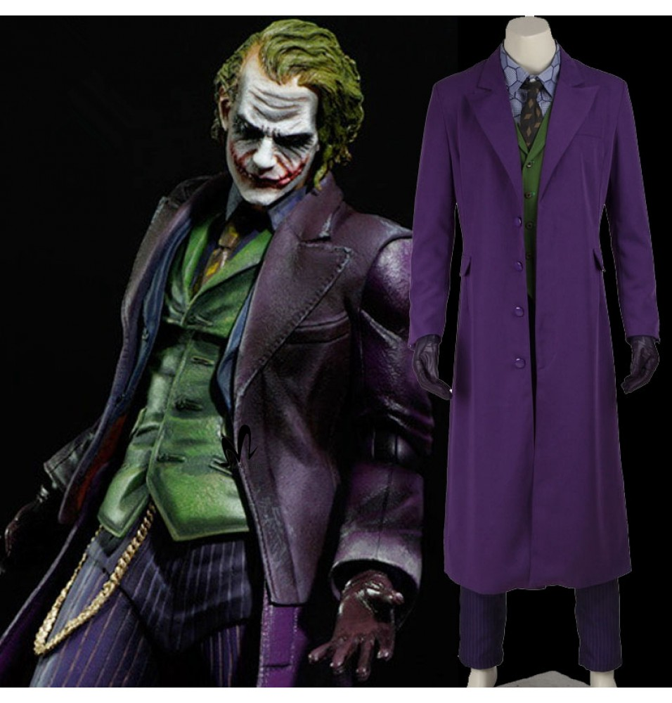 Dark Knight Joker Cosplay Costumes Gabardine Trench Coat Full Set