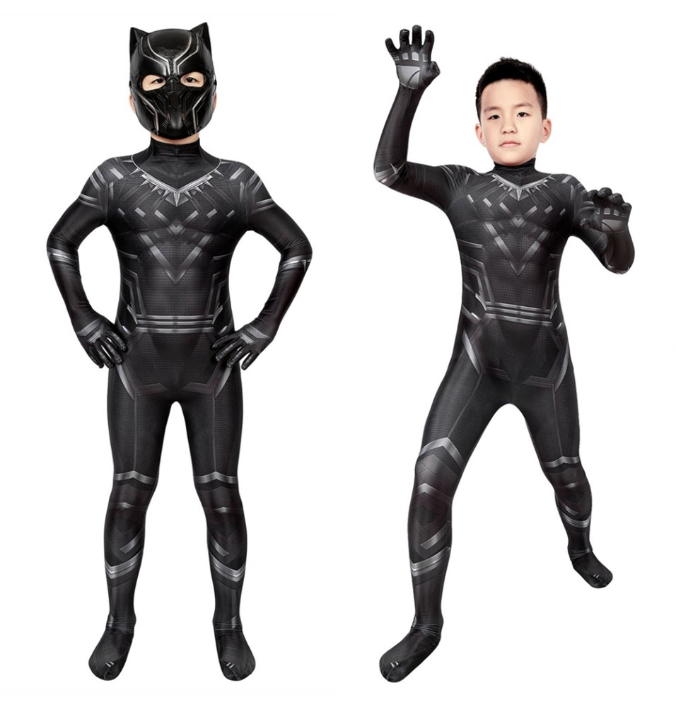 Civil War T'Challa Black Panther Kids 3D Jumpsuit