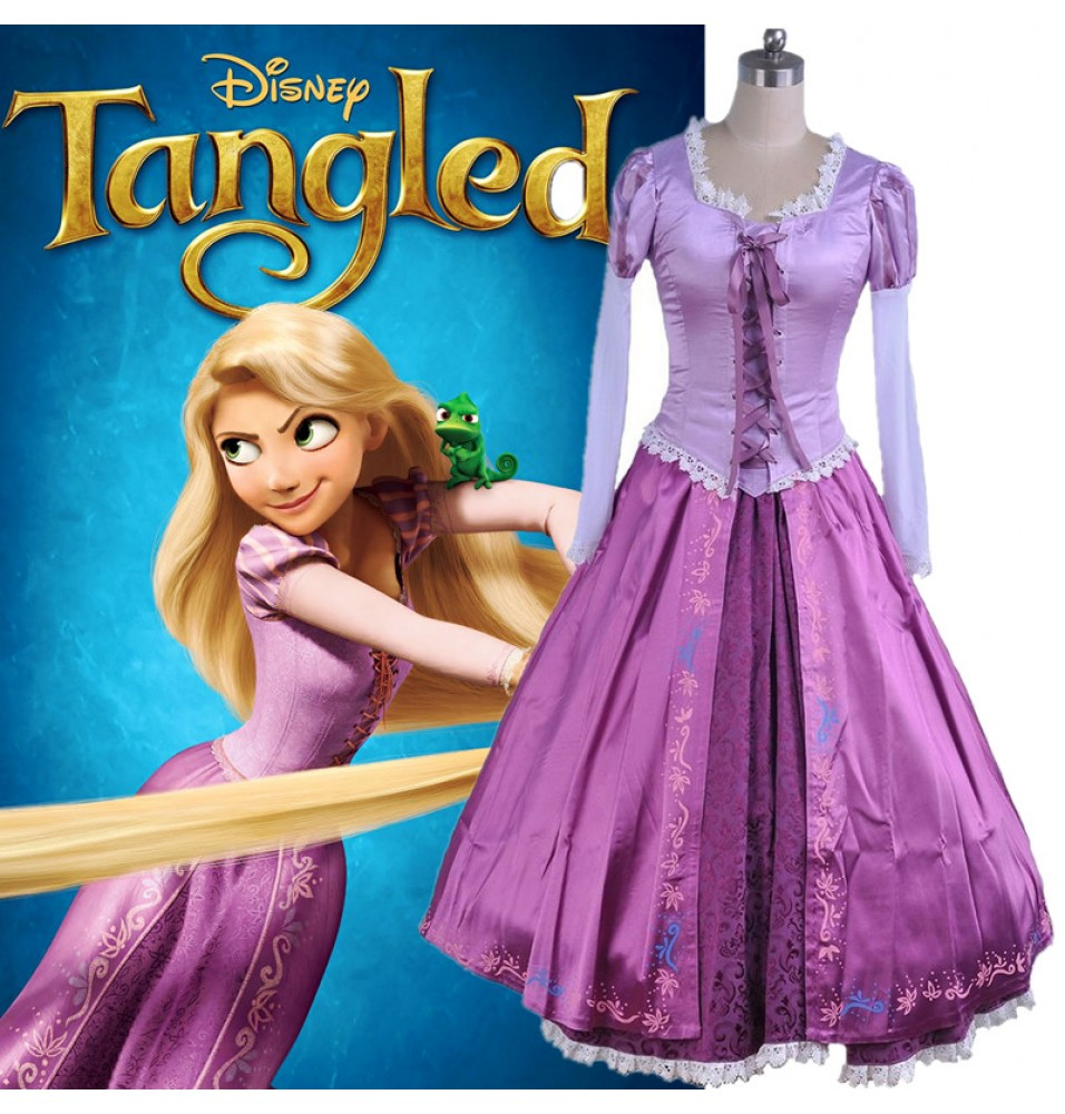 Disney Tangled Princess Rapunzel Adult Dress Deluxe Cosplay Costume