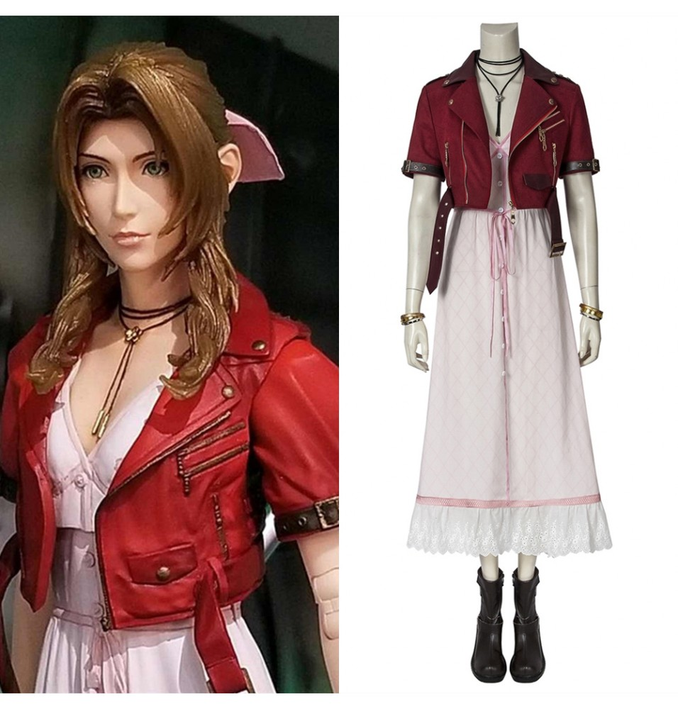 Final Fantasy VII PS4 Game FF7 Aerith Gainsborough Cosplay Costume