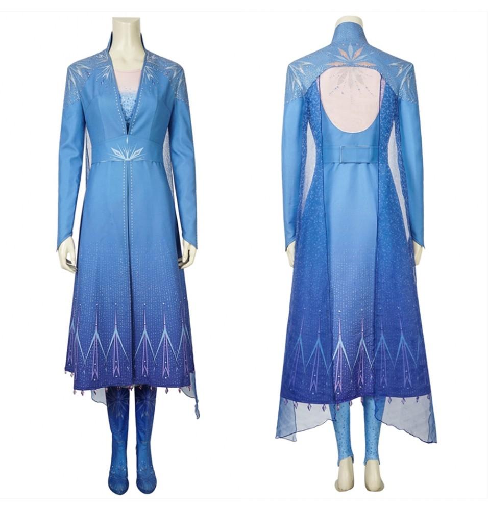 Frozen 2 Elsa Cosplay Costume Fancy Dress Deluxe Version